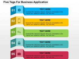 Five Tags For Business Application Flat Powerpoint Design