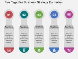 five_tags_for_business_strategy_formation_flat_powerpoint_design_Slide01