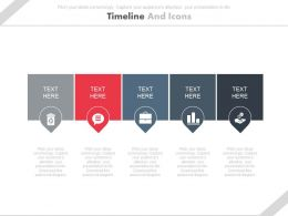 Five Tags For Business Timeline And Icons Powerpoint Slides