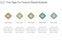 Five Tags For Finance Result Analysis Powerpoint Slideshow