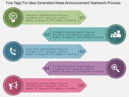 five_tags_for_idea_generation_news_announcement_teamwork_process_flat_powerpoint_design_Slide01