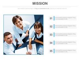 Five Tags For Team Management Mission Powerpoint Slides