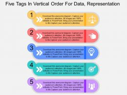 Five Tags In Vertical Order For Data Representation Flat Powerpoint Design