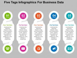 Five Tags Infographics For Business Data Flat Powerpoint Design