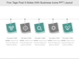 Five Tags Post It Notes With Business Icons Ppt Layout