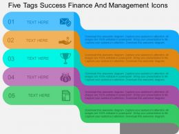Five Tags Success Finance And Management Icons Flat Powerpoint Design