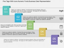 Five Tags With Icons Numeric Fonts Business Data Representation Flat Powerpoint Design