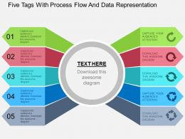 Five Tags With Process Flow And Data Representation Flat Powerpoint Design
