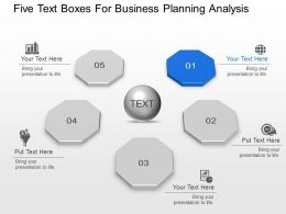 Five Text Boxes For Business Planning Analysis Powerpoint Template Slide