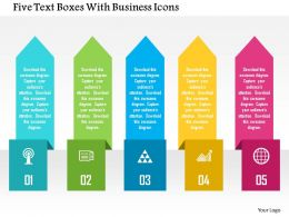 Five Text Boxes With Business Icons Flat Powerpoint Design