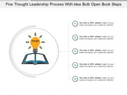 Five Thought Leadership Process With Idea Bulb Open Book Steps
