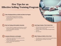 Five Tips For An Effective Selling Training Program