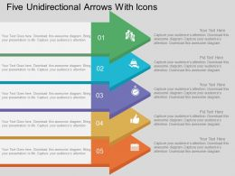 Five Unidirectional Arrows With Icons Flat Powerpoint Design