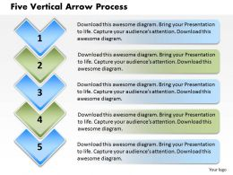 Five Vertical Arrow Process PowerPoint Template Slide