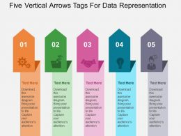 Five Vertical Arrows Tags For Data Representation Flat Powerpoint Design