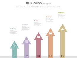 Five Vertical Arrows With Icons For Business Analysis Powerpoint Slides