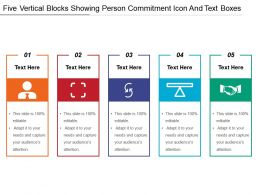 Five Vertical Blocks Showing Person Commitment Icon And Text Boxes
