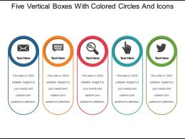 Five Vertical Boxes With Colored Circles And Icons