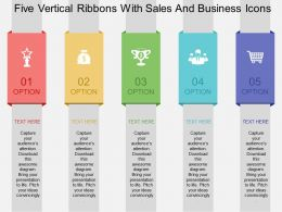 Five Vertical Ribbons With Sales And Business Icons Flat Powerpoint Design