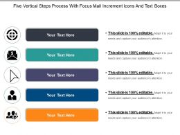 Five Vertical Steps Process With Focus Mail Increment Icons And Text Boxes