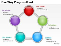 five way progress chart powerpoint diagrams presentation slides graphics 0912