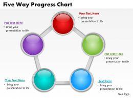 five way progress chart powerpoint diagrams presentation slides graphics 0912