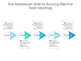 Five Workstream Slide For Running Effective Team Meetings Infographic Template