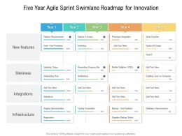 Five Year Agile Sprint Swimlane Roadmap For Innovation