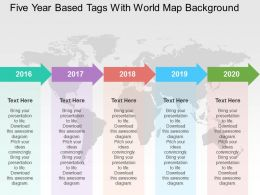 Five Year Based Tags With World Map Background Ppt Presentation Slides