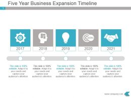 Five Year Business Expansion Timeline Powerpoint Ppt Template