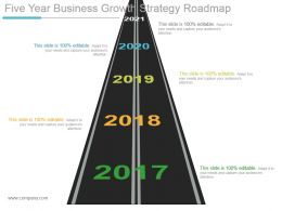 Five Year Business Growth Strategy Roadmap Powerpoint Slides