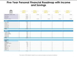 Five Year Personal Financial Roadmap With Income And Savings