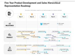 Five Year Product Development And Sales Hierarchical Representation Roadmap
