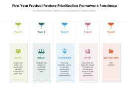 Five Year Product Feature Prioritization Framework Roadmap