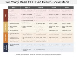 Five Yearly Basis Seo Paid Search Social Media And Digital Marketing Swimlane