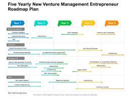 Five Yearly New Venture Management Entrepreneur Roadmap Plan