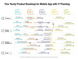 Five Yearly Product Roadmap For Mobile App With IT Planning