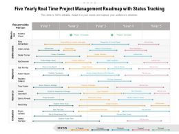 Five Yearly Real Time Project Management Roadmap With Status Tracking