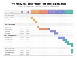 Five Yearly Real Time Project Plan Tracking Roadmap