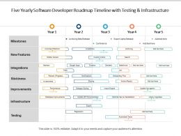 Five Yearly Software Developer Roadmap Timeline With Testing And Infrastructure