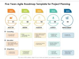 Five Years Agile Roadmap Template For Project Planning