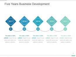 Five Years Business Development Powerpoint Visual Layout