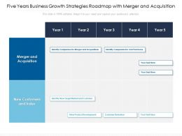 Five Years Business Growth Strategies Roadmap With Merger And Acquisition