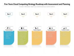 Five Years Cloud Computing Strategy Roadmap With Assessment And Planning