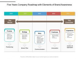 Five Years Company Roadmap With Elements Of Brand Awareness