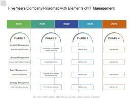 Five Years Company Roadmap With Elements Of IT Management