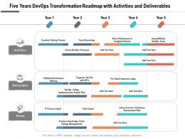 Five Years Devops Transformation Roadmap With Activities And Deliverables