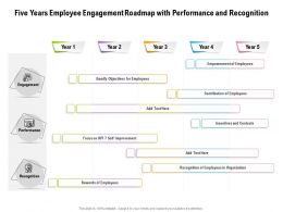 Five Years Employee Engagement Roadmap With Performance And Recognition