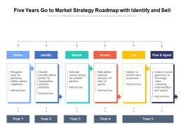 Five Years Go To Market Strategy Roadmap With Identify And Sell