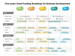 Five Years Grant Funding Roadmap For Business Development